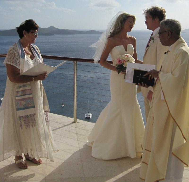 CSDBK Co-officiating with Anglican Priest for wedding at Peter Island, BVI