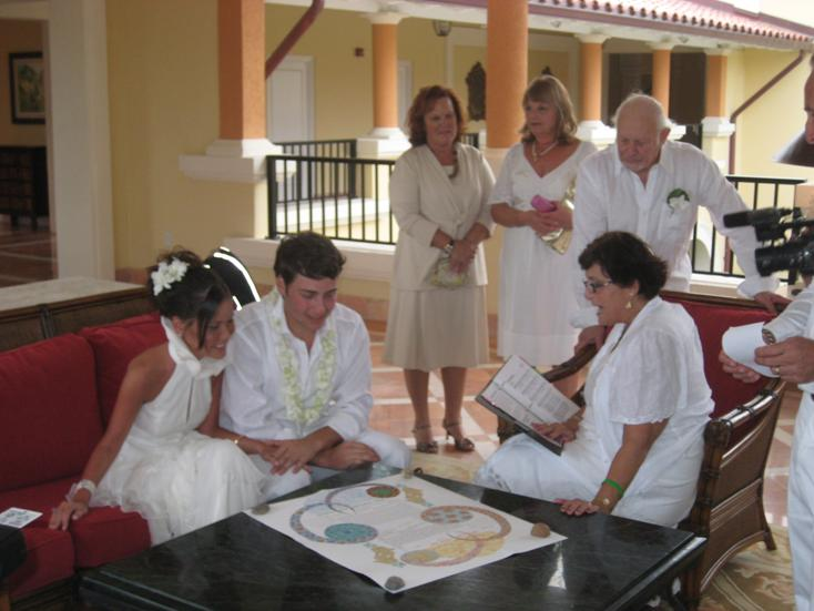 Ketubah signing at Oppenheimer wedding