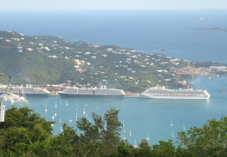Cruise ships at Havensight-St. Thomas harbor
